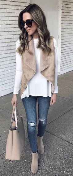 fall+casual+style+addiction+|+white+sweater+++nude+vest+++bag+++boots+++ripped+jeans #omgoutfitideas #outfitoftheday #women