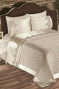 Evlen Home & Alanur Home Collection – Double Diana Pike Team Cream in Trendyol: - New Deko Sites New Interior Design, Interior Decorating Styles, Home Decor Trends, Elegant Home Decor, Elegant Homes, Bed Cover Design, European Home Decor, Home Collections, Bed Spreads