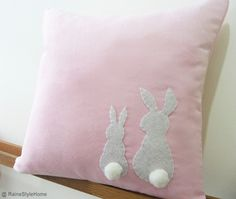 Two Little Lovely Rabbits Soft Pink Pillow Cover. Spring Summer Bunny. Pom Pom Appliques.