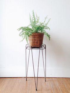 Mid Century Hairpin Leg Planter - tripod, metal, side table