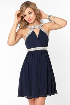 Elegance in the Room Navy Blue Beaded Dress. Homecoming Dresses SleevesPlus  Size ... 0ae4e75e40b8