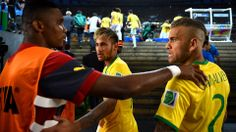BRASILIA, BRAZIL - JUNE 23: Samuel Eto'o (L) of Cameroon speaks to Neymar (C) and Dani Alves of Brazil during the half time in the tunnel during the 2014 FIFA World Cup Brazil Group A match between Cameroon and Brazil at Estadio Nacional on June 23, 2014 in Brasilia, Brazil. (Photo by Jeff Mitchell - FIFA/FIFA via Getty Images)  2014 FIFA World Cup Brazil™: Cameroon-Brazil - Photos - FIFA.com