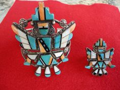 ZUNI KNIFEWING BRACELET AND RING  EX. C.G.WALLACE COLLECTION