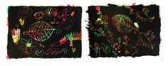 krastechniek zoals kunstenaar Paul van Klee werken ook maakte...hier is deze toegepast met het thema 'herfst'. Twee meisjes van 5 en 6 jaar maakten in herfstkleuren een heel tekenblad vol met oliepastel. Eroverheen ging dekzwart verf en maakten zij naar aanleiding van het bekijken van herfstbladeren en bladnerven (we hadden buiten herfstblaadjes gezocht).. deze prachtige tekeningen!..naast het 'echt bekeken en nagetekende herfstblaadje' kwam er een heel fantasieverhaal bij!