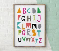 Alphabet Poster, Nursery Art, Alphabet Print, Colourful Alphabet Print, Nursery Decor, ABC Wall Art, ABC Print, Kids Room Decor, Children's by YoYoStudio