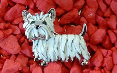 $14.95~~~Adorable!!!! New Enamel & Crystal Silver West Highland Terrier Westie Puppy Dog Pin Brooch