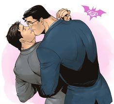 Bruce y Clark by Jiro on Pixiv Superman X Batman, Baby Batman, Cute Anime Guys, Anime Love, Marvel Couples, Gay Aesthetic, Superbat, Batman Family, Comic Movies