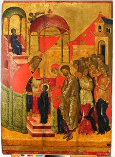 Orthodox icon of the Entrance of the Most Holy Theotokos, Panagia, Virgin Mary, the Mother of God into the Temple icon of cent. Byzantine Art, Byzantine Icons, Powerful Images, People Art, Wise People, Orthodox Icons, Christian Art, Roman Empire, Middle Ages