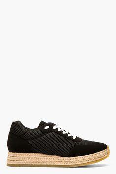 STELLA MCCARTNEY Black Mesh Espadrille Sneakers