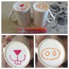 DIY Mug Art: make your own animal nose mugs