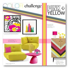 """Color Challenge: Pink and Yellow"" by anitadz ❤ liked on Polyvore featuring interior, interiors, interior design, home, home decor, interior decorating, CB2, Bla Station, Dot & Bo and Universal Lighting and Decor"