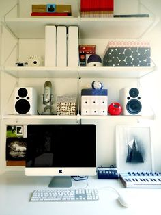 Great idea for a compact home office!  Alexis & Nathaniel's Modern Cottage