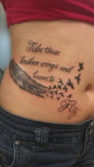 take those broken wings and learn to fly tattoo feather and birds