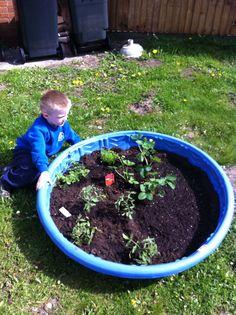 Upcycled Kiddie Pool Into Raised Garden. Interesting.