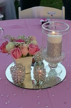 A very soft  and #elegant #DYI #centerpiece Love the bling