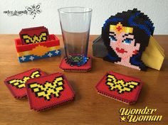 From DC Comics: Wonder Woman Coasters and Napkin Holder !!! Perler Bead Creations by: RockerDragonfly