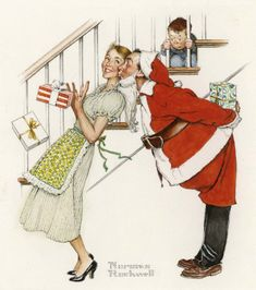 I Saw Mommy Kissing Santa Claus by Norman Rockwell for Hallmark Cards Peintures Norman Rockwell, Norman Rockwell Art, Norman Rockwell Paintings, Illustration Noel, Christmas Illustration, Illustrations, Noel Christmas, Vintage Christmas Cards, Xmas