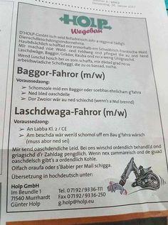 Diese schwäbische Stellenanzeige des ''Dienschdleischdongsondornehmas'' ...
