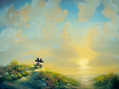 Mickey Mouse - The View From Here - Minnie - Original by Rob Kaz presented by World Wide Art Disney Magic, Disney Mickey, Mickey Mouse, Walt Disney, Disney And Dreamworks, Disney Pixar, Disney Fine Art, Disney Paintings, Der Computer