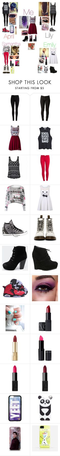"""""""Me an my band mates outfit for are meet and greet with are fans"""" by nikolestyles ❤ liked on Polyvore featuring Dr. Denim, Ally Fashion, Pieces, Converse, Dr. Martens, Therapy, ALDO, NIKE, Disney and NARS Cosmetics"""
