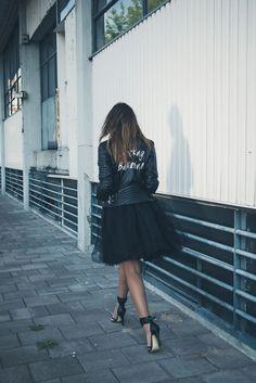 biker jacket +tulle skirt