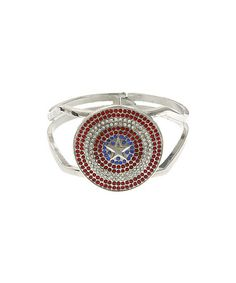 Take a look at this Silver  Red Crystal Captain America Bracelet by Marvel on #zulily today!