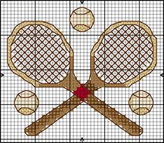 "Borduurpatroon ""Overig"" Kruissteek *Embroidery Cross Stitch Pattern ~Tennis~"