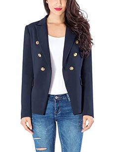 Tanming Women s Casual Lapel Slim Long Sleeve Denim Outercoat Jacket  Windbreaker 48b4a7596