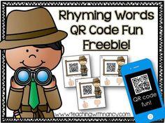 Free Audio QR Code Rhyming Activity