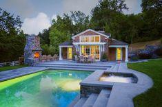 Pool house of a beautiful northern California equestrian property. Via Kikuchi & Associates.