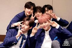 This photo is so sweet haha. Hyeongjun got sandwhich! ㅡ Press Conference set behind pic] __ Love U Forever, My Youth, Produce 101, Bad Mood, Korean Celebrities, Mingyu, Read News, Memes, Boy Groups