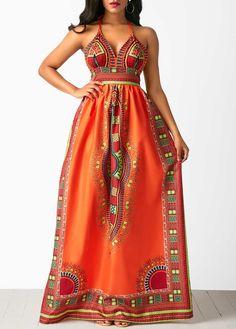 Sleeveless Open Back High Waist Dashiki Dress