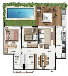 5 modelos de plantas de casas com 2 quartos: