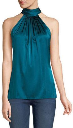 """i need a """"fun"""" night out top. Halter Tops, Halter Neck, Fashion Tape, Look Fashion, Womens Fashion, Fashion Design, Sewing Blouses, Corsage, Diy Clothes"""