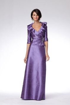 Ruffle collar shirred mother of the bride suit with crystal buttons and three-quarter length sleeves
