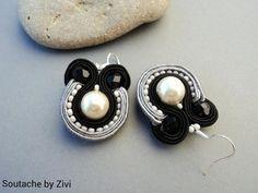 pequeños pendientes de soutache con perlas de cristal y rocalla en colores negro y gris, pendientes, bisuteria de soutache, joyas de elrinconcitodezivi en Etsy