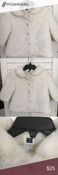 Janie and Jack Faux Fur Jacket Only worn once! Janie and Jack white faux fur jacket with crystal buttons. 0-6 Month size, but runs large (fits my daughter who wears 9 Month clothes). Very warm and perfect for holiday pictures.  Bundle with other Janie and Jack items in my closet for 15% discount. Janie and Jack Jackets & Coats