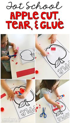 Tot School: Apples Cutting, tearing and gluing fine motor practice with an apple theme. Great for tot school, preschool, or even kindergarten! Preschool Curriculum, Preschool Lessons, Preschool Classroom, Preschool Learning, Apple Activities Kindergarten, Kindergarten Apples, Preschool Printables, Kindergarten Year Plan, Homeschooling