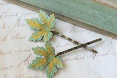 Rustic maple leaf hair pin.woodland leaf by tiedupmemories on Etsy, $16.00