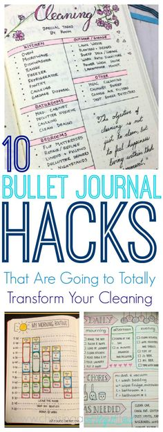 These 10 bullet journal hacks are THE BEST! I'm so glad I found these great bullet journal tips and hacks that actually work! Now I can be more productive in my cleaning when using my bullet journal! Definitely saving for later!#bulletjournal#journal#bulletjournaling