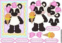 Little Ice Cream Bear Quick Birthday Card on Craftsuprint designed by Tanya Hall - Little Ice Cream Bear Quick Birthday Card, included a get well soon, thought it would be great for tonsils and so on. - Now available for download!