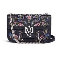 Alexander McQueen 'Insignia' floral and bird embellished leather... ($3,580) ❤ liked on Polyvore featuring bags, handbags, blue purse, sequin purse, leather satchel purse, blue leather handbags and satchel purses