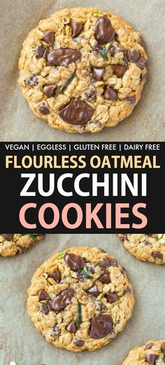 Flourless Zucchini Oatmeal Chocolate Chip Cookies are thick, chewy and soft oatm., Flourless Zucchini Oatmeal Chocolate Chip Cookies are thick, chewy and soft oatm. Zucchini Oatmeal Cookies, Zucchini Chocolate Chip Cookies, Soft Oatmeal Cookies, Chocolate Chip Oatmeal, Chocolate Cookies, Flourless Chocolate, Chocolate Chips, Recetas Zuchinni, Crack Crackers