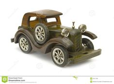 Wooden Toy Car Plans | Retro wooden car (model), isolated on white background.