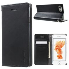 MERCURY GOOSPERY Blue Moon Leather Wallet Case for iPhone 7 4.7 inch - Black
