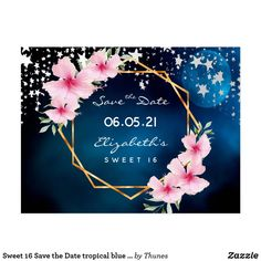 birthday Save the Date tropical blue stars Postcard 30th Birthday Party For Her, 80th Birthday, Quinceanera Invitations, Birthday Decorations, Save The Date, Tropical, Stars, Blue, Sky