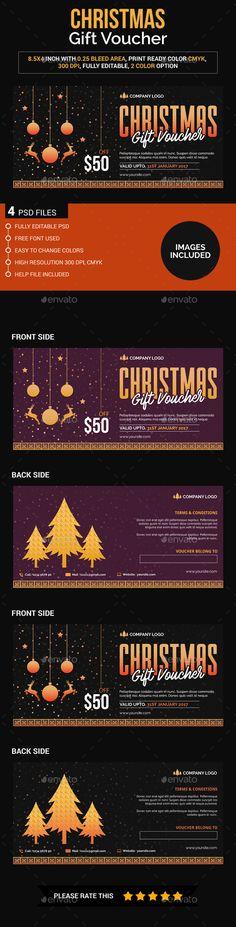 Christmas gift voucher — Photoshop PSD #unique #promotion • Download ➝ https://graphicriver.net/item/christmas-gift-voucher/19074145?ref=pxcr