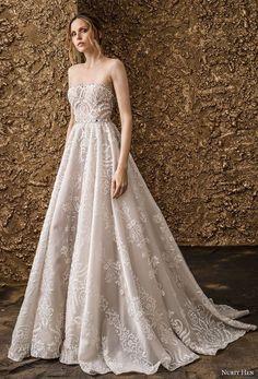 nurit hen 2018 bridal strapless straight across neckline full embellishment romantic a  line wedding dress sweep train (1) mv -- Nurit Hen 2018 Wedding Dresses #wedding #weddings #bridal #weddingdress