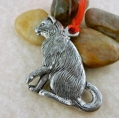 Vintage Pewter Kitty Cat double sided Christmas ornament by celtictreasures on…