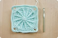 spiral-centered granny square #crochet